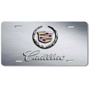 Cadillac Wreath Inspired Art Brushed Steel Flat Aluminum Novelty License Plate