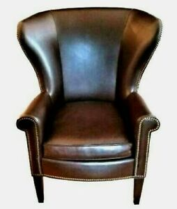 Wingback Faux Leather Chair By Mitchell Gold Polo Lauren Writer S Style Made Usa