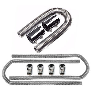 Chrome Stainless Steel 24 Radiator Hose 44 Heater Hoses Kit W Clamp Covers