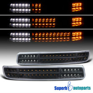 For 1999 2006 Gmc Sierra Yukon Black Led Sequential Signal Drl Bumper Lights