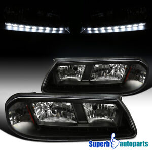For 2000 2005 Chevy Impala Black Led Smd Headlights Pair