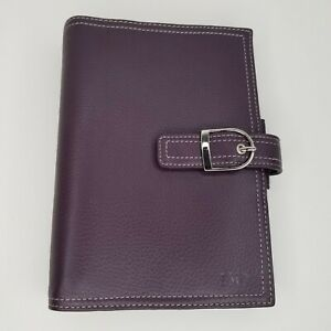 Day Timer Purple Leather Planner Compact Franklin Covey 5 3 4 X 8 X 1 1 2