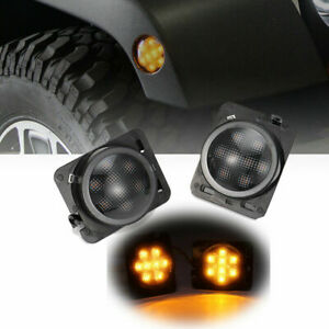 For 07 17 Jeep Wrangler Jk Led Turn Signal Fender Side Marker Light Smoke Lens