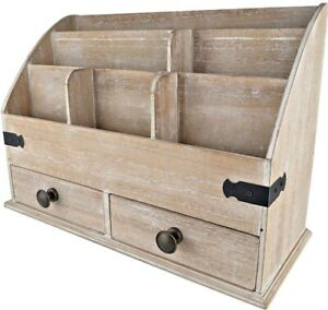 25dol Mini hutch Large Wooden Desk Organizer With Drawers Rustic Office Decor