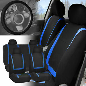 Blue Black Seat Covers With Leather Steering Wheel Cover For Auto Car Suv