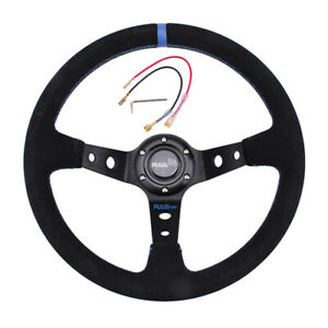 Steering Wheel 14inch 350mm Car Sport Racing Type Suede Leather With Horn Us
