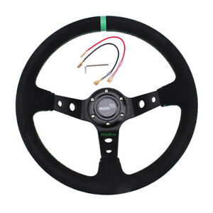 14inch 350mm Car Sport Racing Type Suede Leather Steering Wheel With Horn Red Us