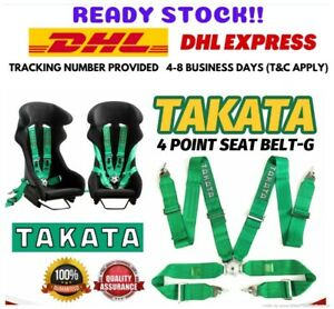 Takata 4 Point Snap on 3 With Camlock Racing Seat Belt Green Harness Universal