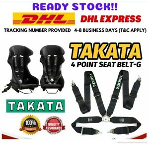 Takata 4 Point Snap on 3 Black With Camlock Racing Seat Belt Harness Universal