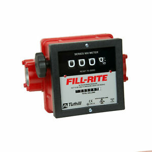 Fill rite 1 1 2 Inch 4 Wheel Mechanical Fuel Transfer Flow Meter Red open Box