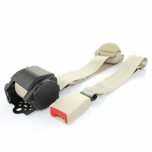 1x Beige 3 Point Harness Retractable Safety Seat Belt Lap Strap Beige Auto Truck