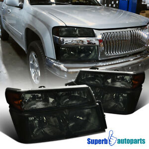 For 2004 2012 Chevy Colorado Gmc Canyon Smoke Headlights Corner Bumper Lamps