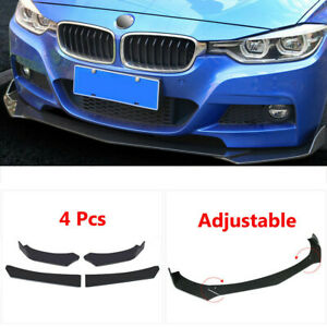 4pcs Universal Car Glossy Black Front Bumper Lip Chin Spoiler Splitter Body Kit