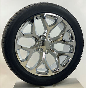 22 Chrome Snowflake Wheels Bridgestone Tires 2000 18 Gmc Yukon Denali Sierra