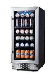 Phiestina 15 Inch Beverage Cooler Refrigerator 96 Can Built in Or Free Standin