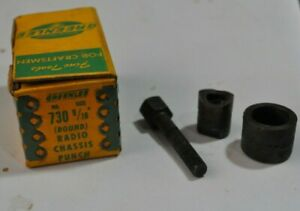 Vintage Greenlee No 730 9 16 Round Radio Chassis Knock out Punch In Box
