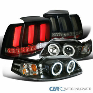 Fit 99 04 Mustang Halo Projector Headlights Glossy Black Led Sequential Tail