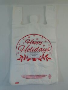 Happy Holiday Snow Globe Plastic T shirt Shopping Bags Handles 11 25 x 6 X 21