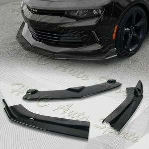 For 2016 2018 Chevy Camaro Painted Black Zl1 Style Front Bumper Body Kit Lip 3pc