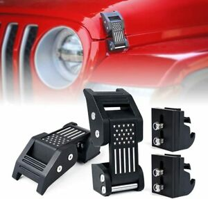 Aluminum Hood Latches Catch Buckle Flag For 07 Jeep Wrangler Jk Jl Gladiator Jt