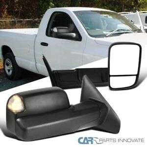 For 02 08 Dodge Ram 1500 2500 Towing Side Mirrors Pair Led Signal Puddle Lamps