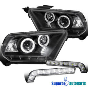 For 2010 2014 Ford Mustang Gt Halo Projector Headlights Black led Bumper Lamps