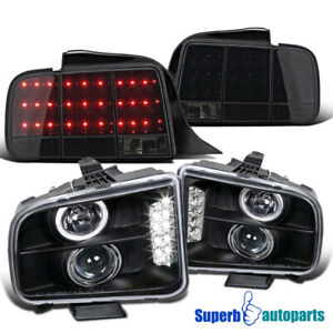 For 2005 2009 Mustang Halo Headlights Sequential Led Tail Lights Glossy Black