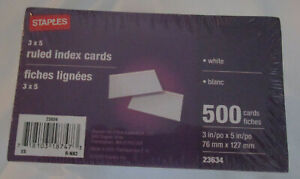 Index Cards Ruled 3 X 5 500 Pack White Cards staples Brand Great For Studying