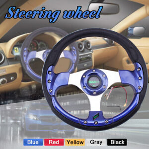 13 5inch 9 5cm Deep Dish Drifting Racing Steering Wheel 6 Blots Blue