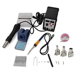 898d 2in1 Smd Rework Soldering Station Solder Esd Tips Bga 4 Hot Air Nozzles