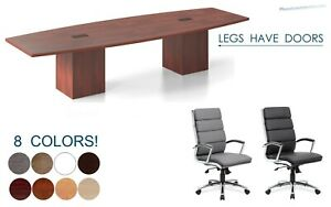 12 Ft Foot Conference Table Legs Have Doors Grommets And 10 Chairs Set 8 Colors