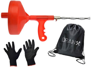 Plumbing Snake Drain Auger 25 ft Drain Cleaning Cable With Work Gloves And Sto