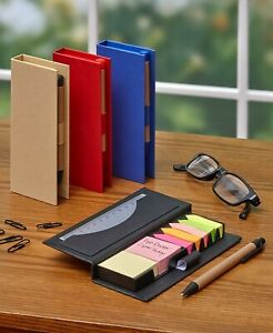Set Of 4 Sticky Memo Boxes With Pens