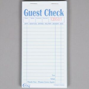 200 Case 2 Part Green White Carbonless Guest Order Receipt Check Book