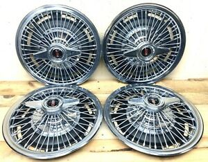 Oldsmobile Set 4 Wire Wheel 14 Hubcaps 2 Bar Spinner 1965 1966 F 85 Cutlass 442