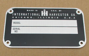 Id Serial Number Plate For Ih International Farmall 330 340 350 400 404 450 460