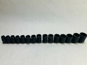 Snap On Imm240 Imm100a 15 Pc 1 2drive 6 Point Shallow Impact Socket Set