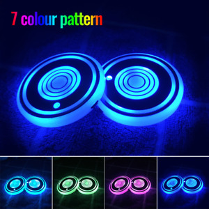 2pc Led Cup Pad Car Accessories Light Cover Interior Decoration Lights 7 Colors