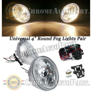 Led Clear Lens Universal 4 Round Fog Light Chrome Housing Lamps With Switch