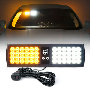 Xprite Yellow White 48 Led Sun Visor Strobe Light Flash Emergency Windshiel Lamp