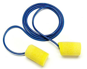 Classic Earplugs Box Of 200 Pair Yellow Foam With Cord Safety Noise Protection