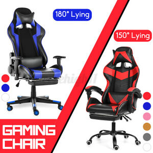 High Back Office Chair Heavy Duty Gaming Racing Computer Seat Swivel W Footrest
