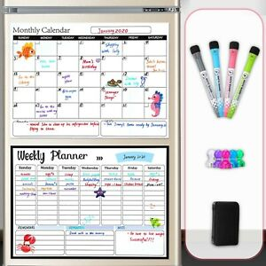 Dry Erase Calendar Whiteboard Magnetic Calendar Refrigerator Monthly And Weekly