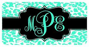 Personalized Monogrammed License Plate Auto Car Tag Cheetah Mint Leopard