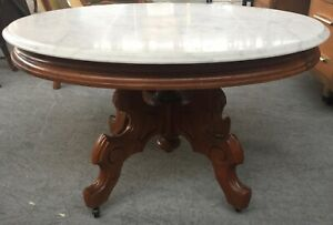 Victorian Marble And Walnut Coffee Table Oval