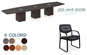 16 Ft Foot Conference Table And 14 Chairs Set Legs With Doors Grommets 8 Colors