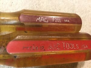 Mac Tool Yellow And Red Handled Pkrb 12 P201 Screwdrivers Used