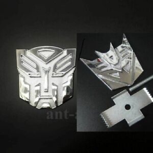 New 3d Transformers Autobot Decepticon Grill Badge Metal Chrome For Front Emblem