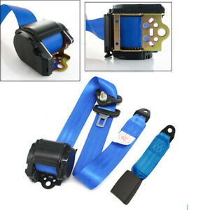 Blue Retractable 3 Point Car Safety Seat Lap Belt Set W Quick Release Camlock