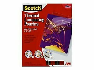 Scotch Letter Size Thermal Laminating Pouches 3 Mil 11 1 2 X 9 50 pack Tp385450